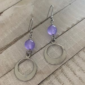 Purple and Stainless steel Earrings